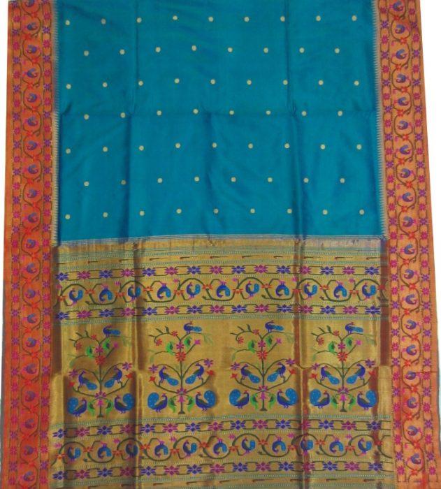 blue paithani