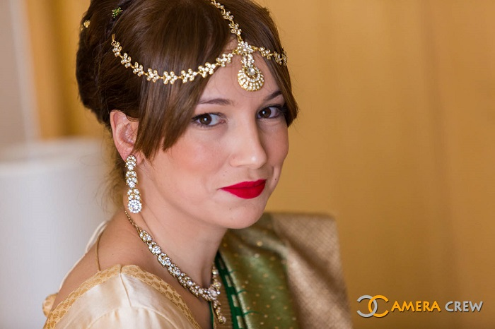 traditional yet elegant wedding hairstyle with simple hair accessories