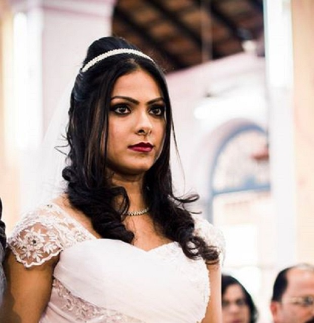 Christian bridal hairstyle Indian bride