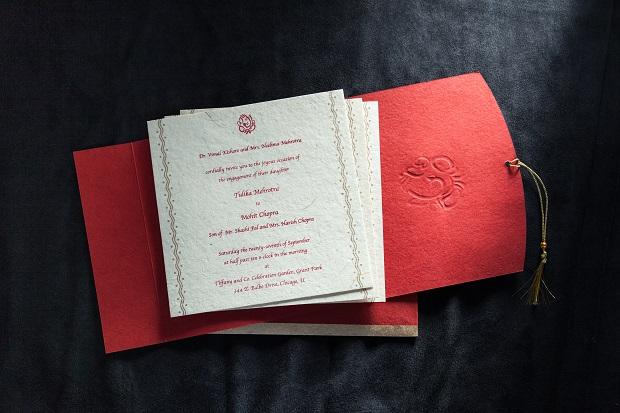 Red wedding invitation cards Coffey invites