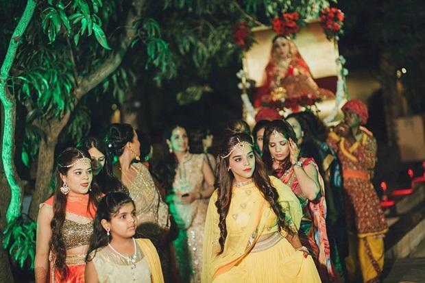 Bridesmaids at beach wedding Alibaug