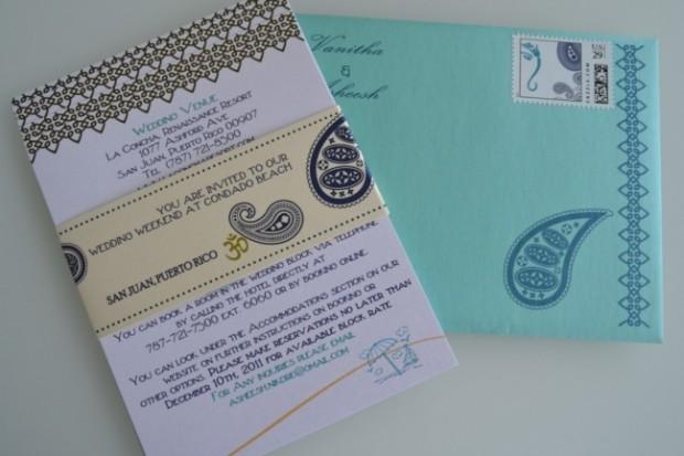 beach wedding Indian invitation cards