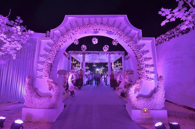 purple pink decor at royal Jodhpur wedding