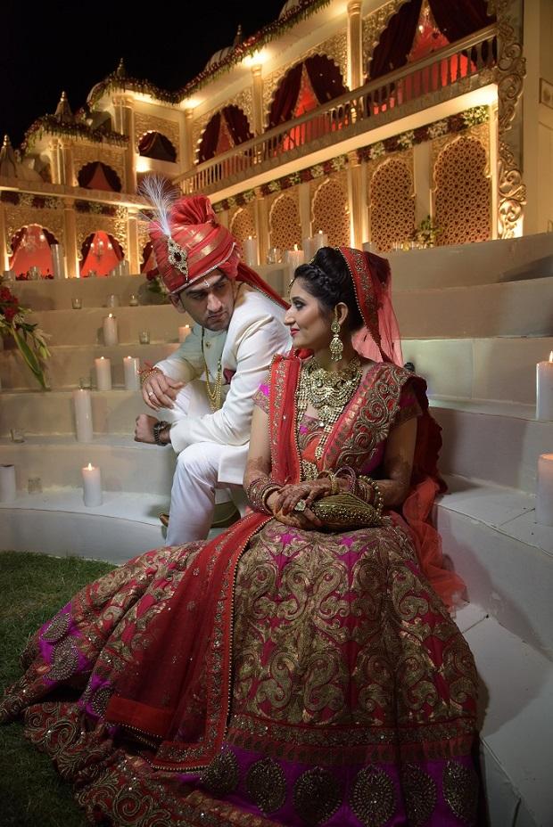 beautiful Indian wedding couple in royal Jodhpur wedding ceremony