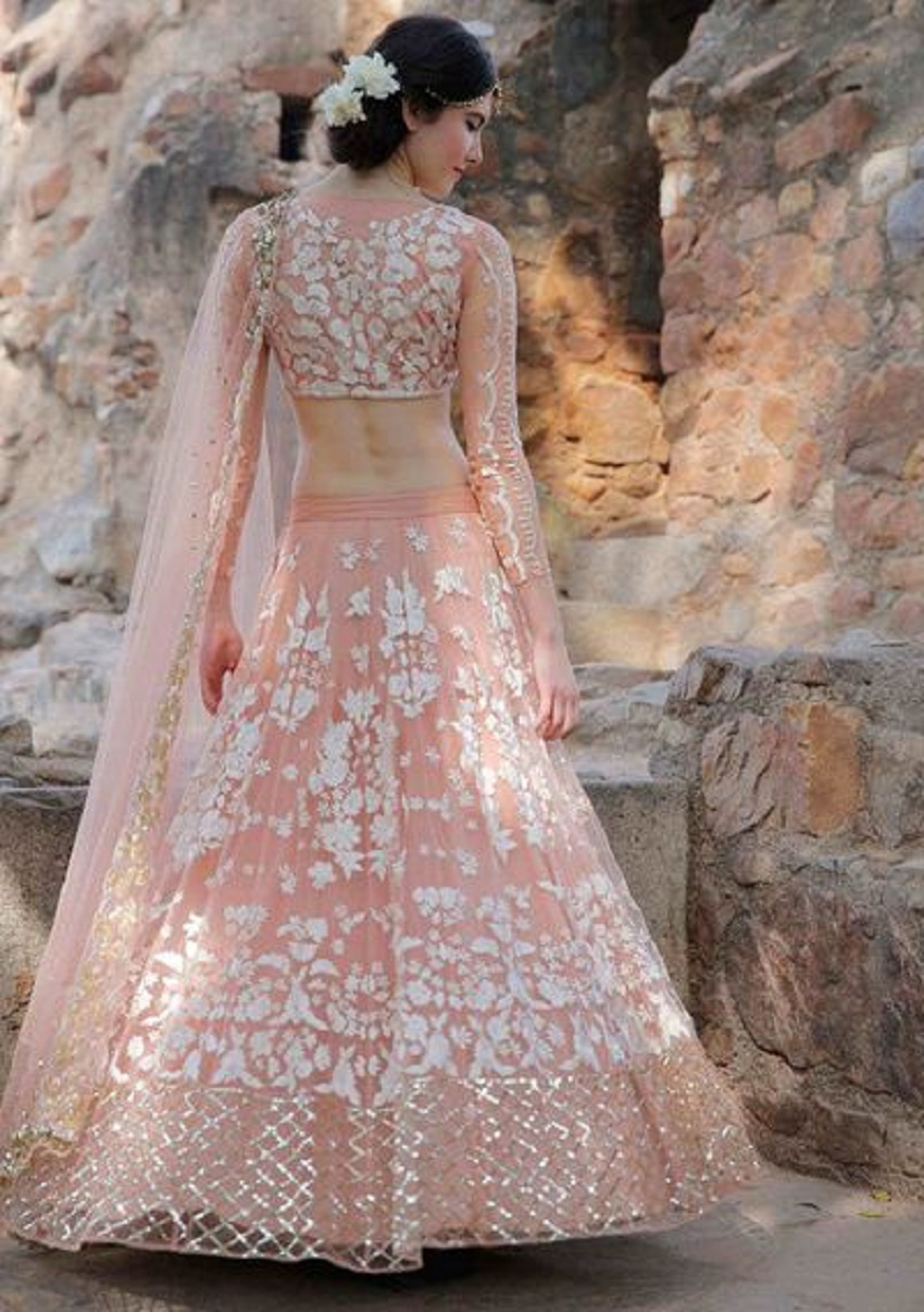 10 trendy full sleeve lehenga cholis for autumn winter for Long sleeve indian wedding dresses