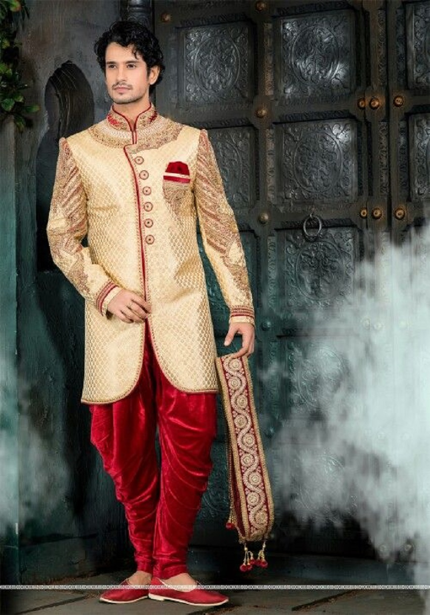 ee3f59f2fa Traditional Yet Modern Dhoti Style Sherwani. Indian groom sherwanis online