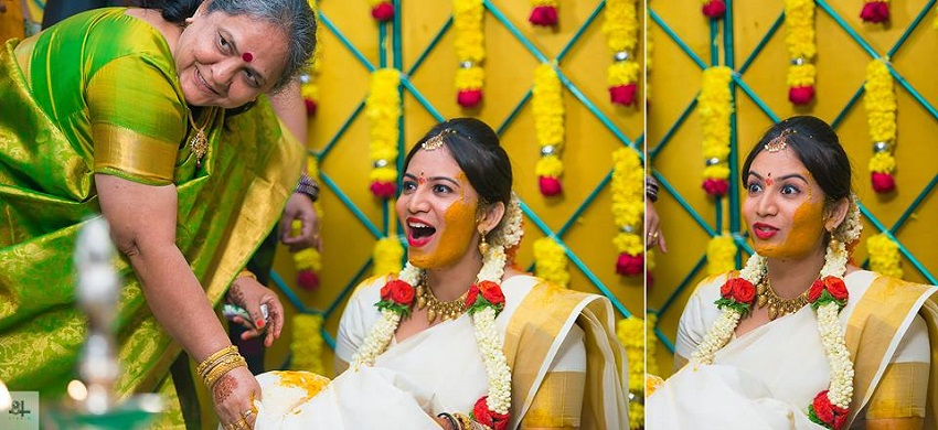 haldi ceremony-Indian wedding rituals-image by best wedding photographers in Chennai 84mm Studio