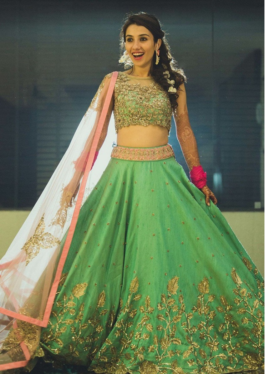 10 Wedding Lehengas In Pantone Colour Of 2017 Greenery
