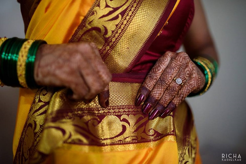 bride wears her 5 yard sari on her wedding day-Mamachi yellow sari