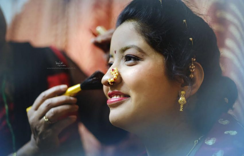 bridal makeup Simple Puneri wedding by Kaustubh's Photography