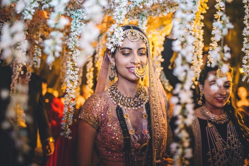 Golden lehenga Parsi Punjabi wedding of rishaad mody priyanka kochhar