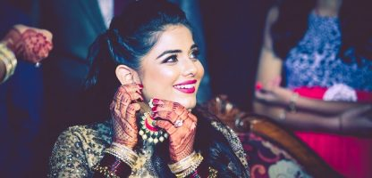 beige lehenga for a fashion designer bride-cocktail party MUA Shahid Naar