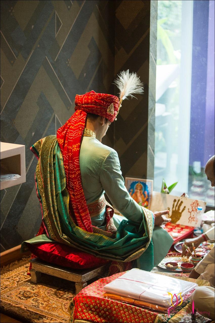 groom prays baraat-real wedding in Goa Planet Hollywood