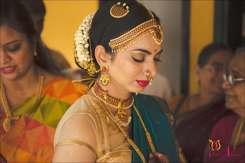 Kanchivaram sari-fusion Marwari Tamil destination wedding in Goa Photoalchemy team