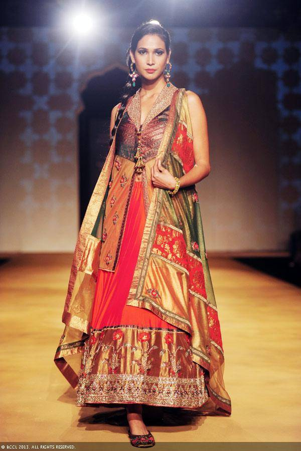 A-model-displays-a-creation-by-designers-Ashima-and-Leena-on-Day-4-of-India-Bridal-Fashion-Week-in-New-Delhi-on-July-25-2013