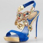 Blue and peacock Indian wedding shoes