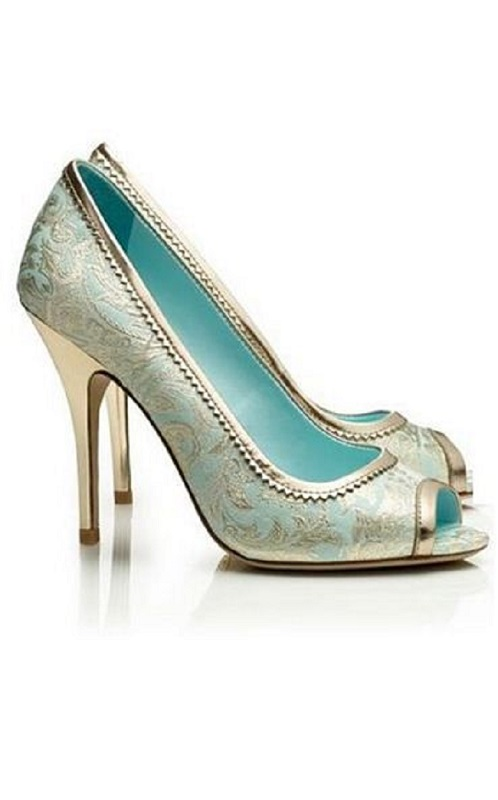 Aqua and silver wedding shoes Indian