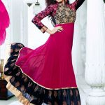 pink black anarkali suit shilpa shetty