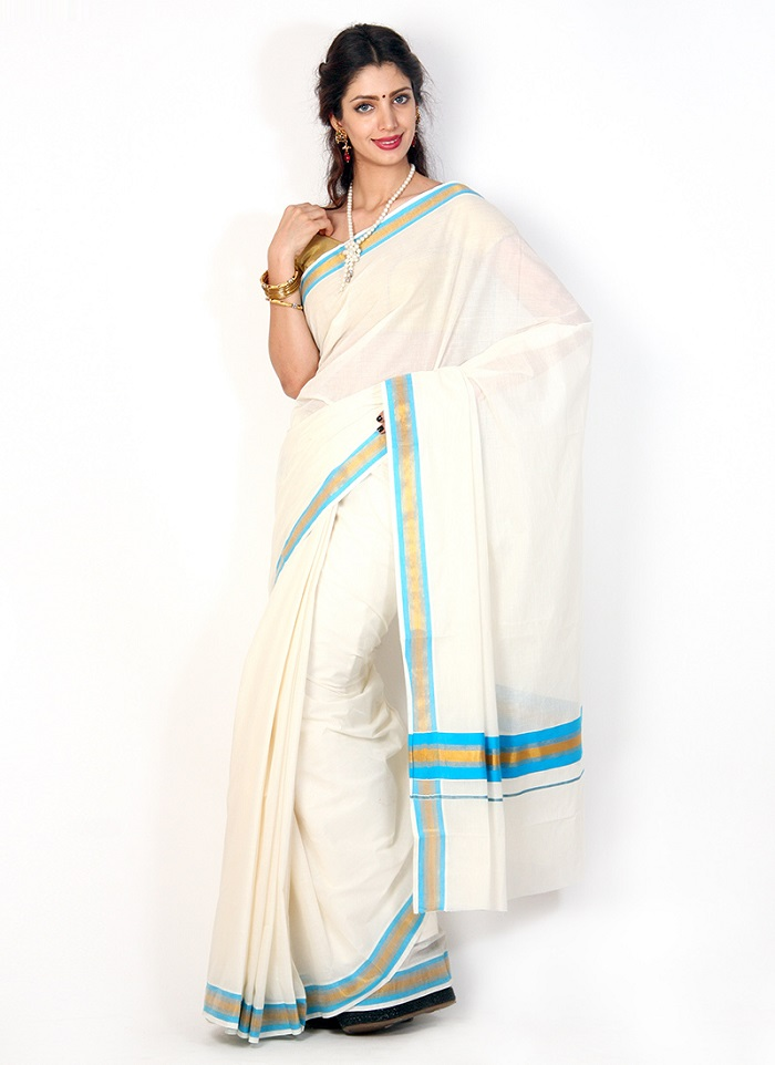Kerala saree with Aqua border