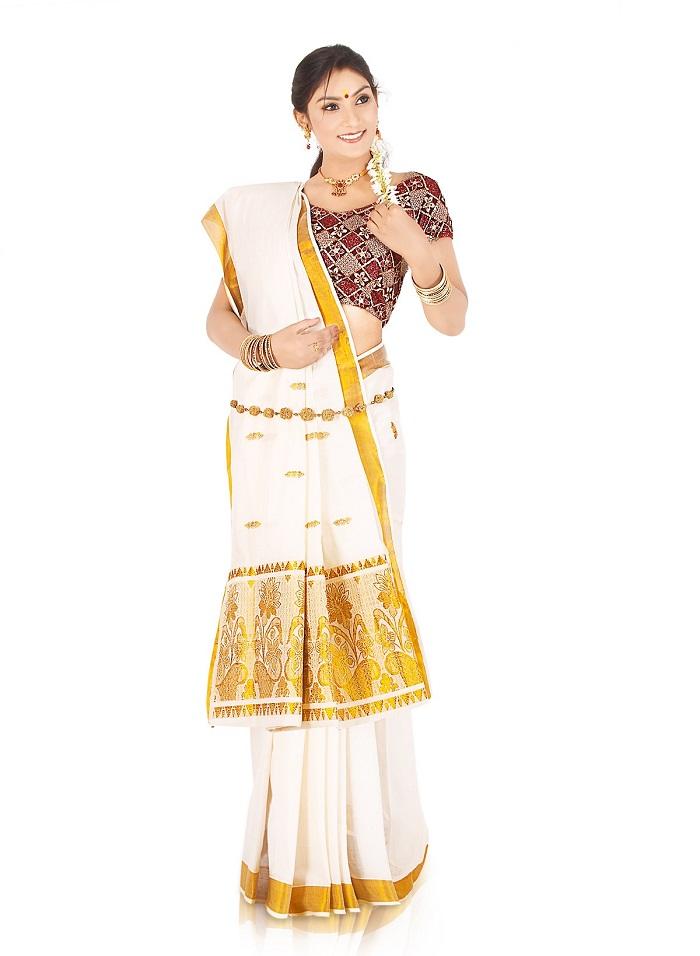 Block print blouse for Kerala Saree