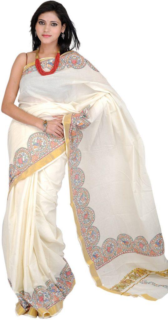 Fusion style Kerala saree