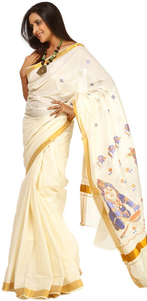 Kerala saree with blue Baby Krishna