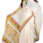 Kerala Saree with golden baby Krishna border