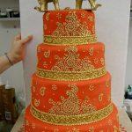 4 tiered Orange Indian inspired wedding cake