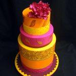 Orange-pink-yellow wedding cake