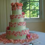 Mint and pink floral wedding cake
