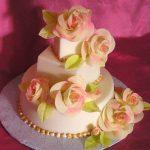 Rosette covered wedding cake
