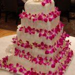 Wedding cake with pretty pink flowers
