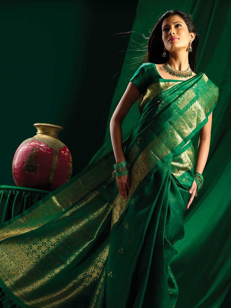 Brocade silk saree for bridal trousseau