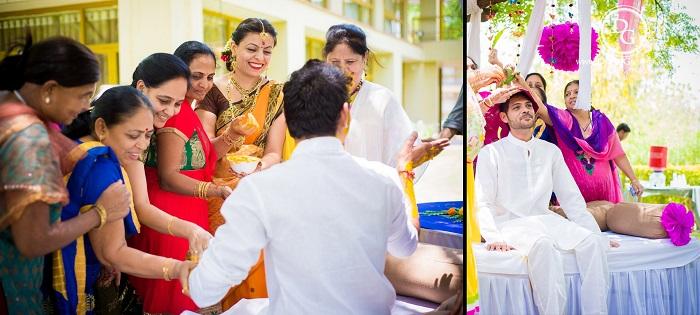 Indian wedding guests at haldi ceremony