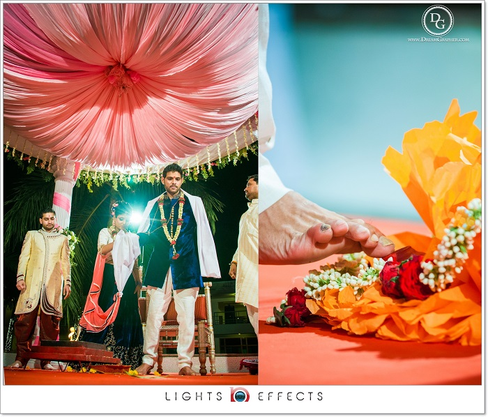 Indian groom arrives in an unique wedding mandap