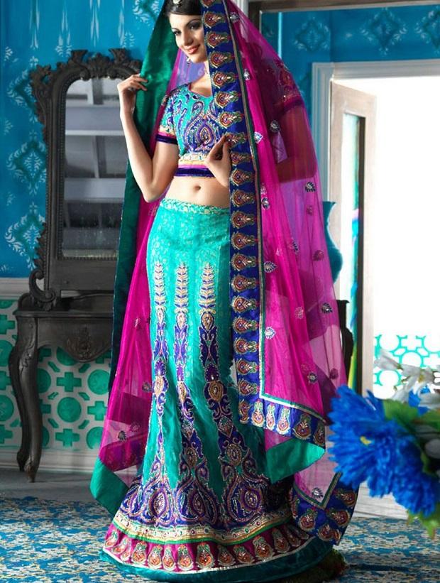 Pantone colour for spring 2015-aquamarine-lehenga-choli-