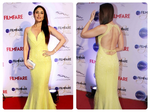 Kareena Kapoor at the Kareena Kapoor was voted the most stylish as she showcased her hourglass figure in a studded yellow Roberto Cavalli gown. The event we are talking about is The Ciroc Filmfare Glamour and Style Award show which was recently held in Mumbai at The Taj Land's End Hotel.  Alia Bhatt (who is often compared to Kareena, we hear) looked like a cute Disney Princess in her pink ball gown. (Alia Bhatt was nominated in the Emerging Face of Fashion (female) category and took home the trophy beating others including newcomers Illeana D'Cruz, Shraddha Kapoor etc. Pinks, peach and shades of red seemed to be the popular colours of the evening with many ladies choosing gowns in these shades. Sonam, who is a regular on the red carpet these days, chose an off-shoulder asymmetric red gown with an interesting silhouette that was enhanced by the multicoloured stripes at the bottom up front. We also loved Nargis's colour of choice for the evening and her nude pumps are certainly steal worthy for our brides, we think. Sunny Leone and yesteryears beauty Neelam (we almost didn't recognize her there!) looked glamorous in black. Brides to be can of course opt for Shruti Hasan's braided up do but we are not too fond of her dress there. Jacqueline gets full marks in out books for keeping things classy and elegant in a dramatic off-shoulder asymmetric black gown with a figure-hugging silhouette. Do comment below as to who was the best and worst dressed celeb from the Filmfare Glamour and Style Award 2015. in Roberto Cavalli gown