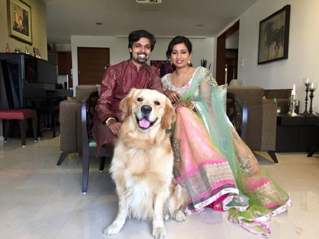 Shreya Ghoshal  post wedding pic with dog Sherlock