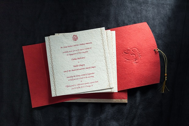 Red wedding invitation cards Coffey invites