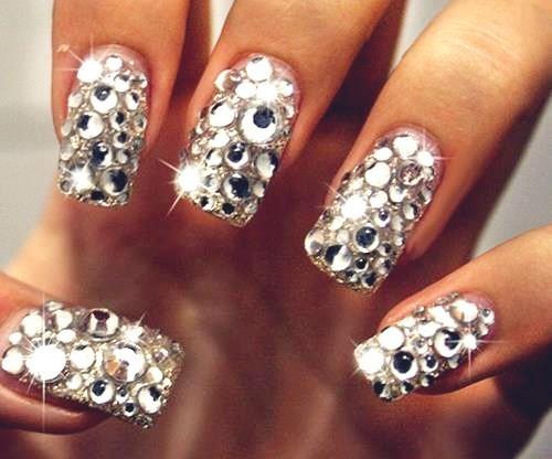 diamond nail art bridal