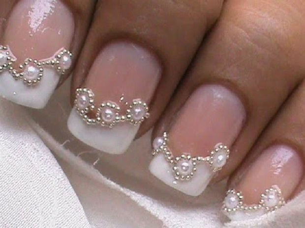 Indian nail art with pearls