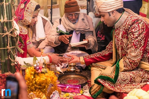rituals and traditions in red gold wedding theme