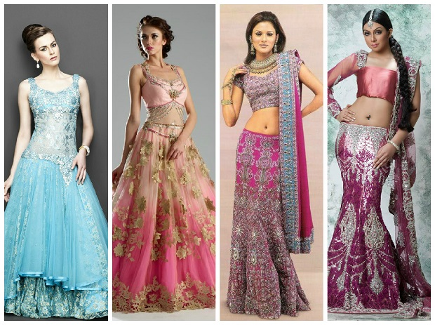 Different styles of Indian wedding lehengas
