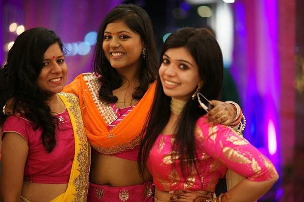 Indian bridesmaids-Beautiful pink silver lehenga Real bride real Indian Punjabi wedding