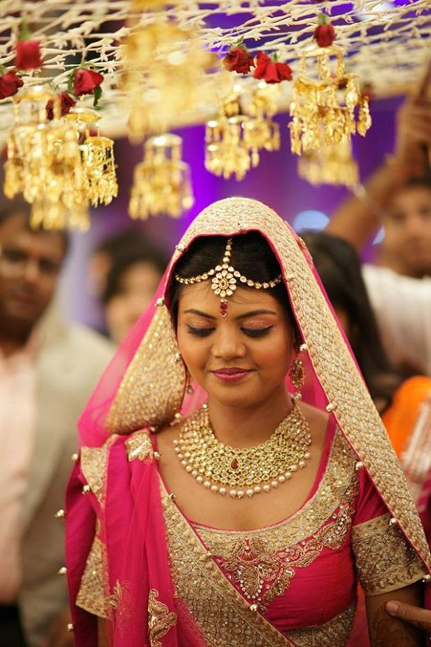 Real Indian bride with beautiful Maang Tikka