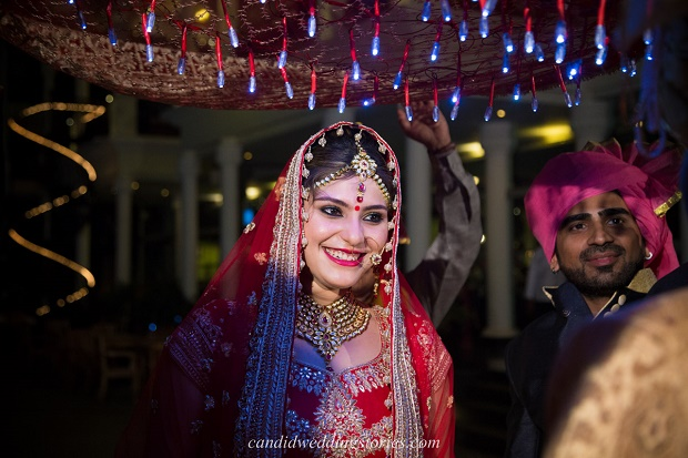 beautiful Indian bride at her Bollywood themed destination Goa wedding