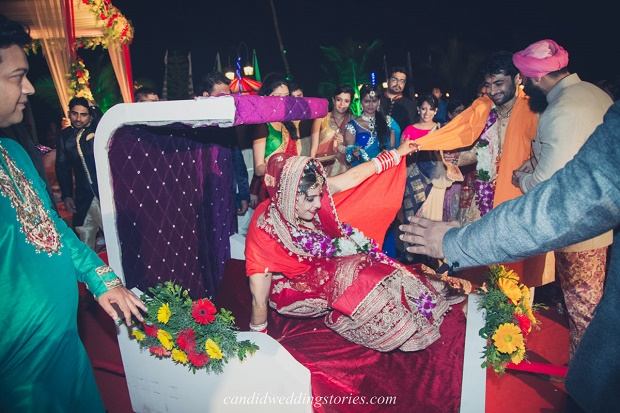 Doli-palanquin at Bollywood themed destination Goa wedding