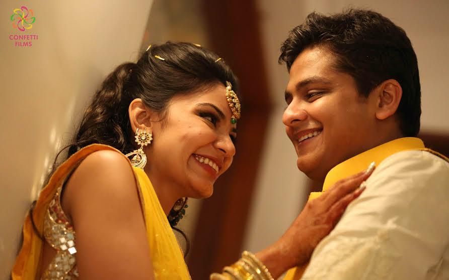 Beautiful real Indian wedding with yellow lehenga and sherwani colour coordination