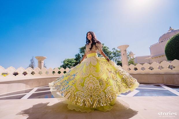 Yellow lehenga-real royal destination Udaipur wedding Cineyug Celebration Event planners