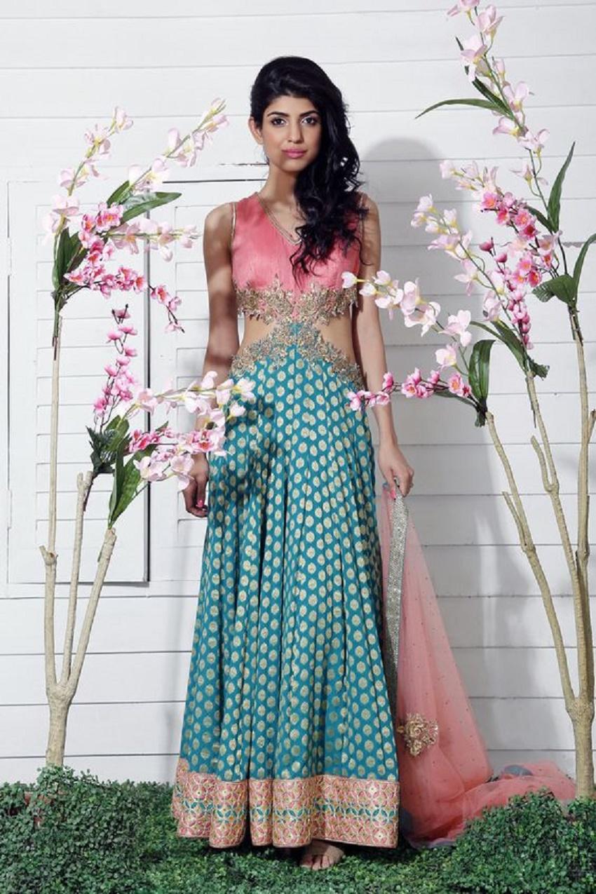 sleeveless pink and teal blue wedding lehenga choli